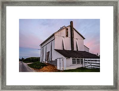 Tobacco Barn At Dusk Framed Print