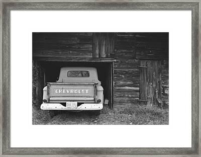 Tobacco Barn Chevy Framed Print