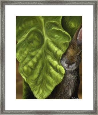 Framed Print featuring the digital art Tobacco Hare by Meagan  Visser