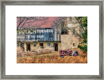 Tobacco Tractor Framed Print by Lori Deiter