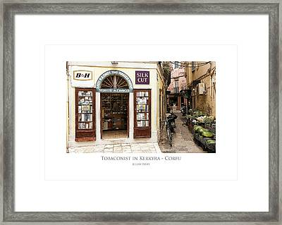 Framed Print featuring the digital art Tobaconist In Kerkyra - Corfu by Julian Perry