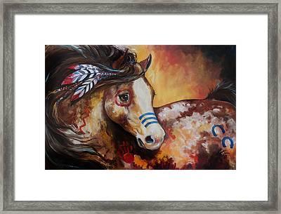 Tobiano Indian War Horse Framed Print by Marcia Baldwin