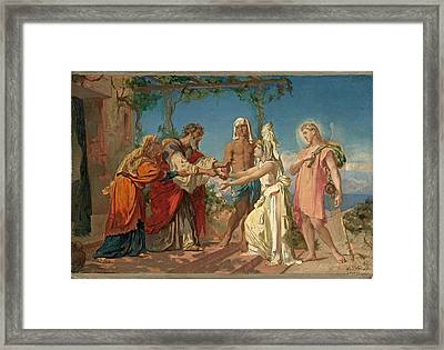 Tobias Brings His Bride Sarah To The House Of His Father Tobit Framed Print