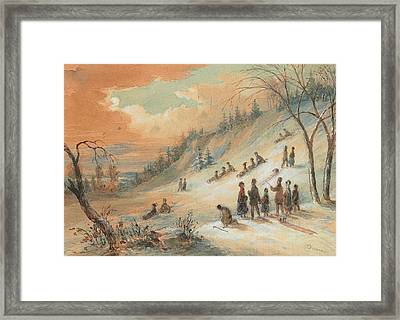 Tobogganning On A Hillside Framed Print by James D Duncan