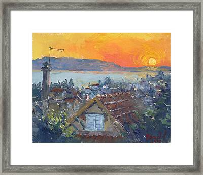 Today Sunrise Over Dilesi Greece Framed Print
