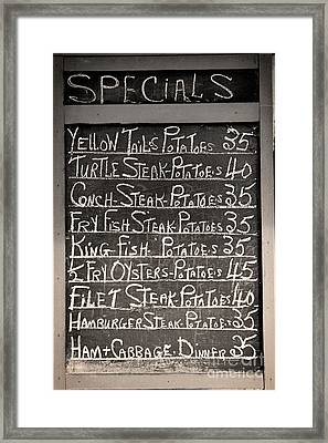 Today's Specials Menu Framed Print by Mindy Sommers