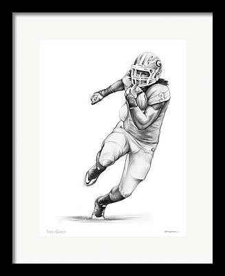 College Football Drawings Framed Prints