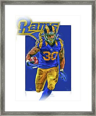 Todd Gurley Los Angeles Rams Oil Art 2 Framed Print