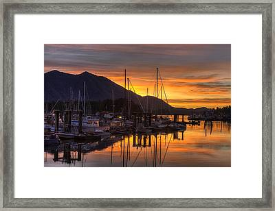 Tofino Docks Sunrise - A Tribute Framed Print by Mark Kiver