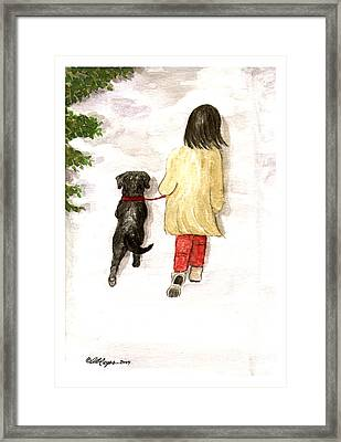 Together - Black Labrador And Woman Walking Framed Print