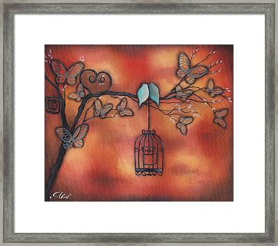 Together In Fall Framed Print by  Abril Andrade Griffith