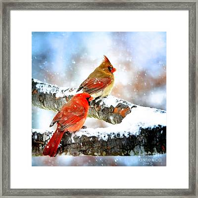 Together In The Snow Framed Print