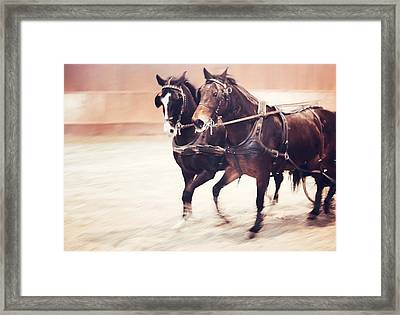 Together To Win Framed Print by Jenny Rainbow