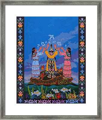 Framed Print featuring the painting Together We Over Come Obstacles by Chholing Taha