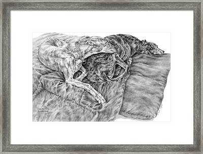 Togetherness - Greyhound Dog Art Print Framed Print by Kelli Swan