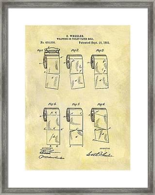Toilet Paper Patent Illustration Framed Print