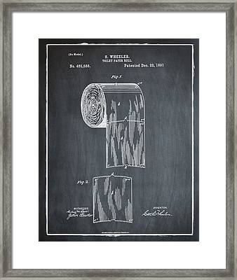 Toilet Paper Roll Patent 1891 Chalk Framed Print by Bill Cannon