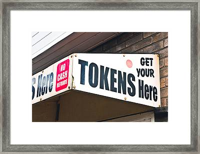 Token Kiosk Framed Print by Tom Gowanlock