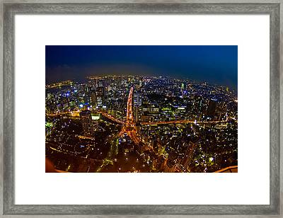 Framed Print featuring the photograph Tokyo At Night by Dan Wells