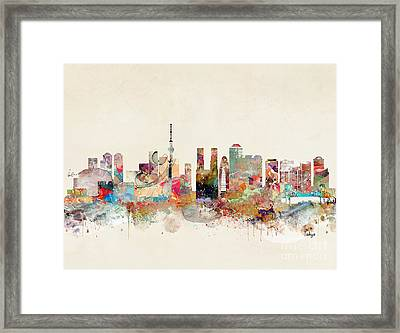 Framed Print featuring the painting Tokyo City Skyline by Bri B