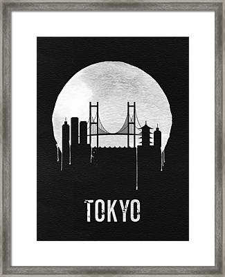 Tokyo Skyline Black Framed Print by Naxart Studio