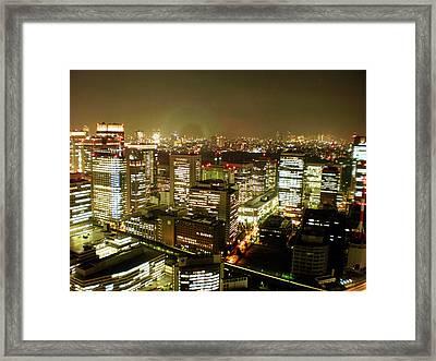 Tokyo Skyline Framed Print by Nancy Ingersoll