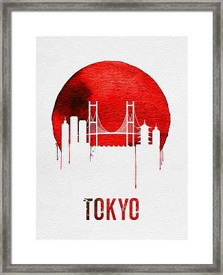 Tokyo Skyline Red Framed Print by Naxart Studio