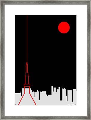 Tokyo Tower Framed Print by Asbjorn Lonvig