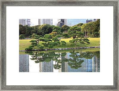Tokyo Trees Reflection Framed Print by Carol Groenen