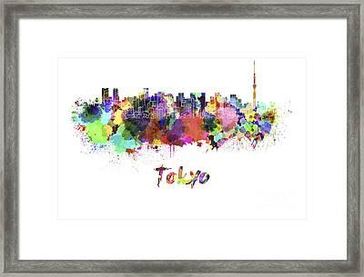 Tokyo V2 Skyline In Watercolor Framed Print by Pablo Romero
