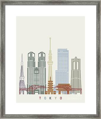 Tokyo V2 Skyline Poster Framed Print by Pablo Romero