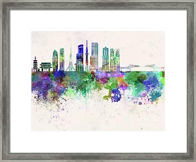 Tokyo V3 Skyline In Watercolor Background Framed Print