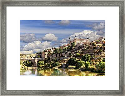 Toledo. Majestic Stone Fortress The Alcazar Is Visible From Any Part Of The City Framed Print