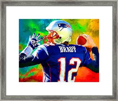 Tom Brady Football Art Painting Framed Print by Andres Ramos