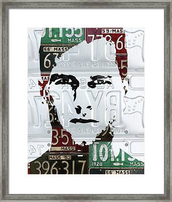 Tom Brady New England Patriots Massachusetts Recycled Vintage License Plate Portrait Original Framed Print