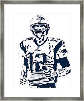 Tom Brady New England Patriots Pixel Art 6 Framed Print by Joe Hamilton