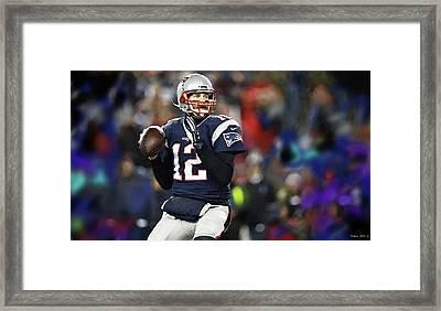 Tom Brady, Number 12, New England Patriots Framed Print by Thomas Pollart