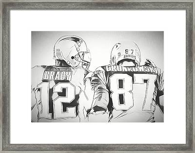 Tom Brady Rob Gronkowski Sketch Framed Print by Dan Sproul