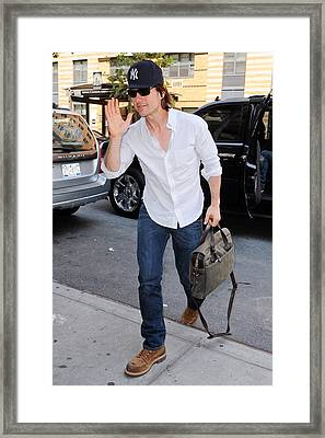 Tom Cruise Carrying A Filson Bag Framed Print by Everett