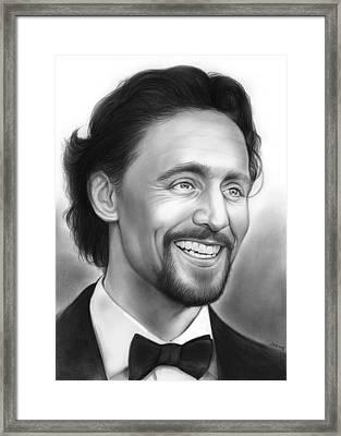 Tom Hiddleston Framed Print by Greg Joens