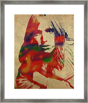 Tom Petty Watercolor Portrait Framed Print