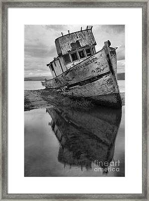 Tomales Bay Shipwreck Black And White Portrait Framed Print