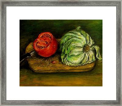 Tomato And Cabbage Oil Painting Canvas Framed Print by Natalja Picugina