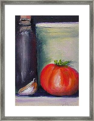 Framed Print featuring the painting Tomato And Garlic by Fred Wilson