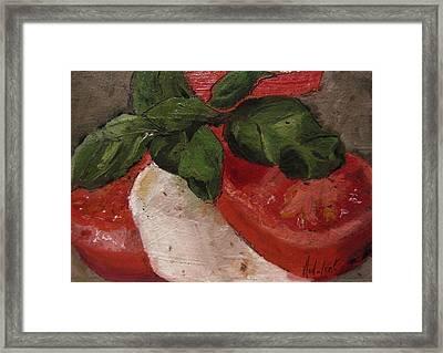 Tomato Basil And Mozarella Framed Print by Barbara Andolsek