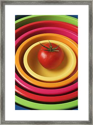 Tomato In Mixing Bowls Framed Print by Garry Gay