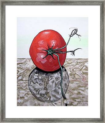 Framed Print featuring the painting Tomato On Marble by Mary Ellen Frazee