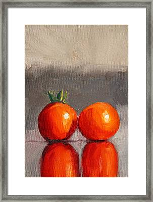Tomato Reflection Framed Print by Nancy Merkle