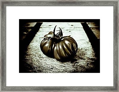 Tomato Still Life Black And White Framed Print by Frank Tschakert