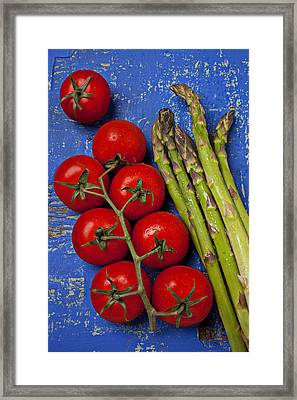 Tomatoes And Asparagus  Framed Print by Garry Gay